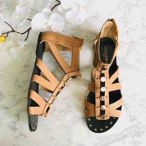 J/SLIDES Tan Gladiator Sandal